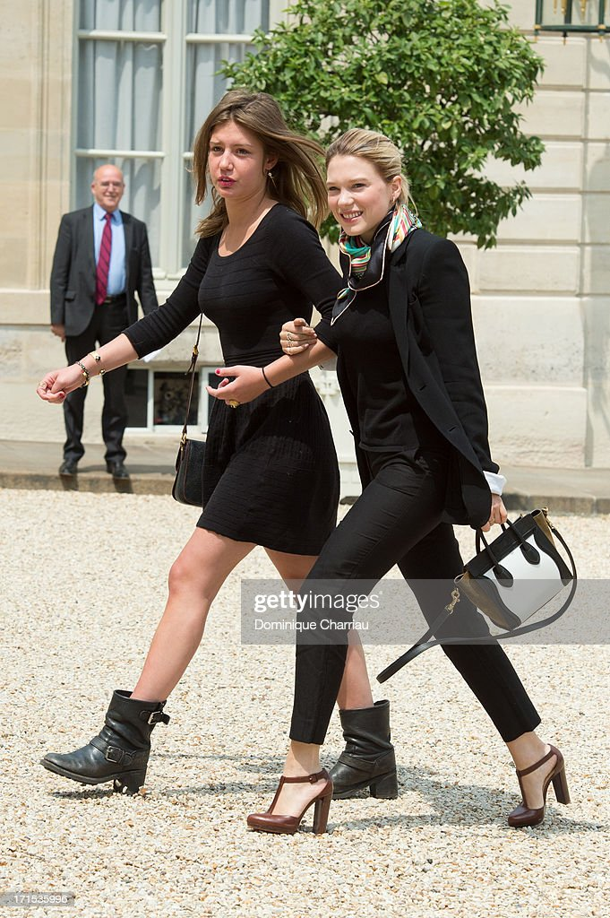 Actress Adele Exarchopoulos and actress Lea Seydoux attend Lunch At Elysee Palace at Elysee Palace on June 26, 2013 in Paris, France.