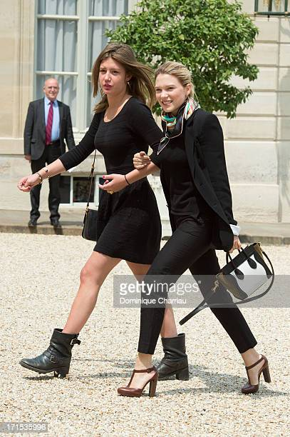 Actress Adele Exarchopoulos and actress Lea Seydoux attend Lunch At Elysee Palace at Elysee Palace on June 26 2013 in Paris France