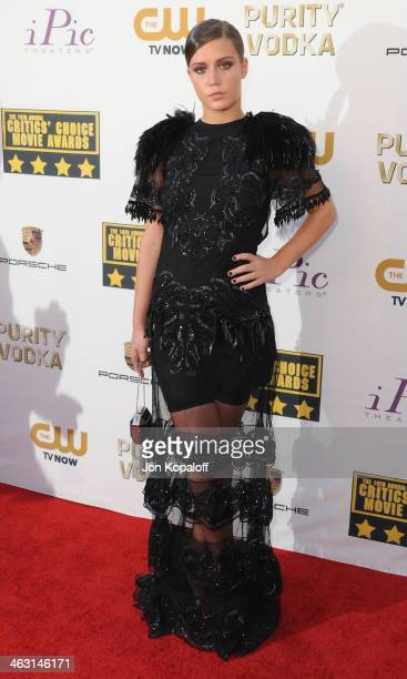 Actress Adele Exarchopoulos arrives at the 19th Annual Critics' Choice Movie Awards at Barker Hangar on January 16 2014 in Santa Monica California