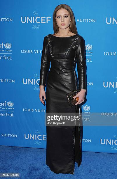 Actress Adele Exarchopoulos arrives at the 6th Biennial UNICEF Ball at the Beverly Wilshire Four Seasons Hotel on January 12 2016 in Beverly Hills...