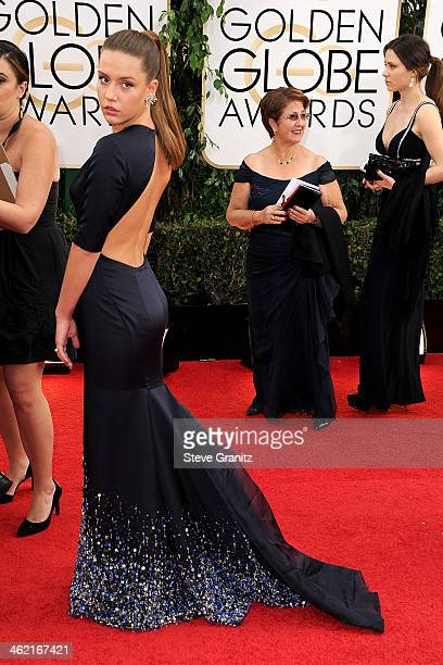 Actress Adele Exarchopoulos attends the 71st Annual Golden Globe Awards held at The Beverly Hilton Hotel on January 12 2014 in Beverly Hills...