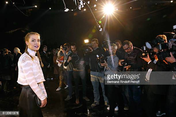 Actress Adele Exarchopoulos attends the HM Studio show as part of the Paris Fashion Week Womenswear Fall/Winter 2016/2017 on March 2 2016 in Paris...
