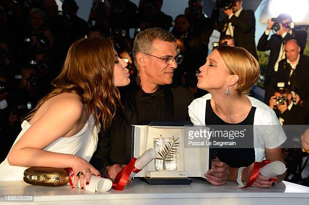 Actress Adele Exarchopoulos Director Abdellatif Kechiche and Lea Seydoux pose with the 'Palme d'Or' for 'La Vie D'adele' at the Palme D'Or Winners...