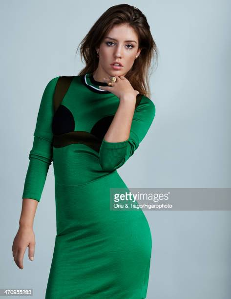 108177005 Actress Adele Exarchopoulos is photographed for Madame Figaro on December 18 2013 in Paris France Dress earrings ring Makeup by Dior...
