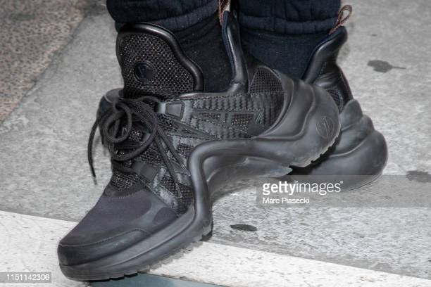 Actress Adele Exarchopoulos shoe detail arrives ahead the 72nd annual Cannes Film Festival at Nice Airport on May 23 2019 in Nice France