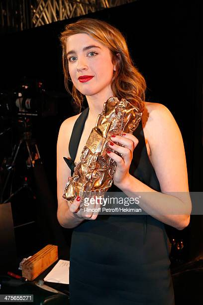 Actress Adele Haenel poses backstage with her Best Supporting Actress award during the 39th Cesar Film Awards 2014 at Theatre du Chatelet on February...