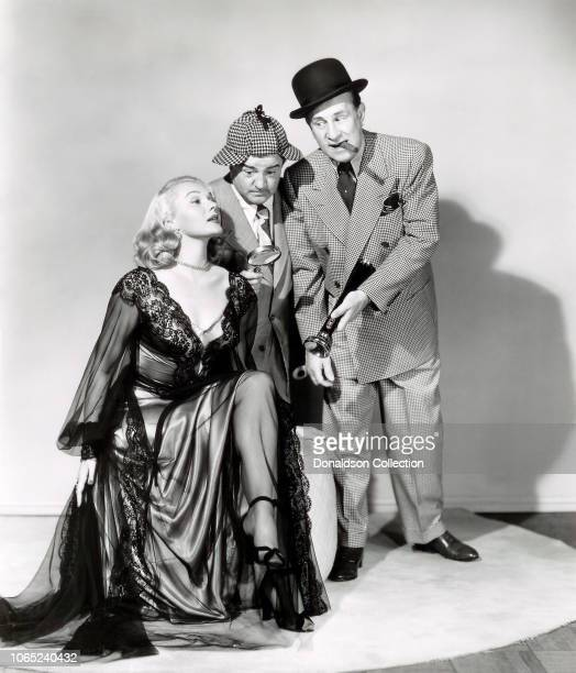 Actress Adele Jergens Bud Abbott Lou Costello in a scene from the movie 'Abbott and Costello Meet the Invisible Man'