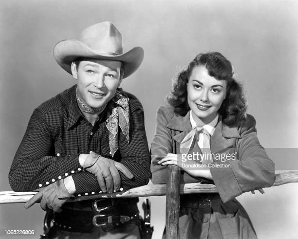 Actress Adele Mara and Roy Rogers in a scene from the movie 'Night Time in Nevada'