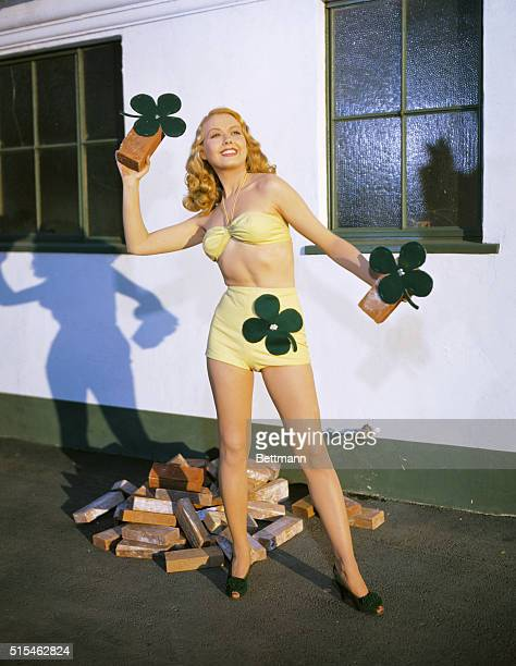 Actress Adele Mara is dressed for St Patrick's Day Perhaps the four leaf clovers will bring her luck