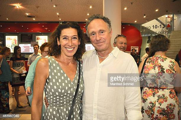 Actress Adele Neuhauser and director Michi Riebl pose during the premiere for the film 'Planet Ottakring' at Lugner Lounge Kino on August 13 2015 in...