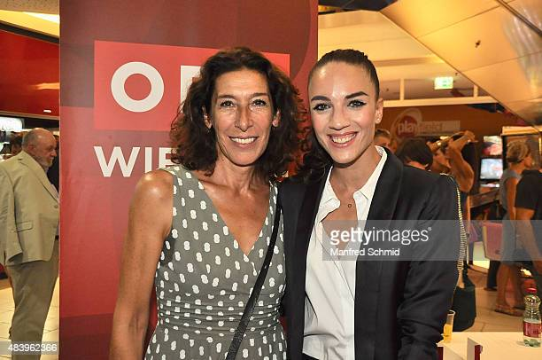 Actress Adele Neuhauser and MaddalenaNoemi Hirschal pose during the premiere for the film 'Planet Ottakring' at Lugner Lounge Kino on August 13 2015...