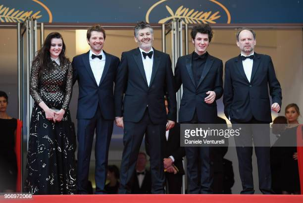 Actress Adele Wismes actor Pierre Deladonchamps director Christophe Honore actor Vincent Lacoste and actor Denis Podalydes attend the screening of...