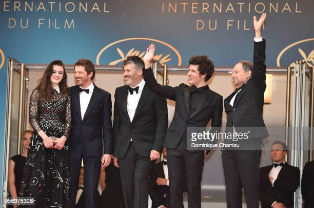Actress Adele Wismes actor Pierre Deladonchamps director Christophe Honore actor Vincent Lacoste and actor Denis Podalydes attends the screening of...