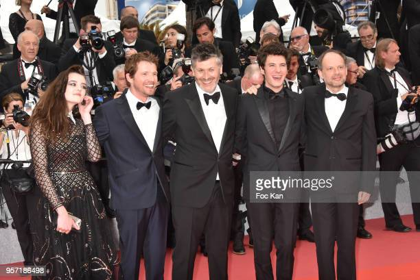 Actress Adele Wismes actor Pierre Deladonchamps director Christophe Honore actor Vincent Lacoste actor Denis Podalydes attend the screening of 'Sorry...