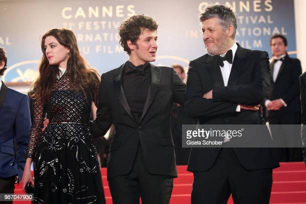 Actress Adele Wismes actor Vincent Lacoste and director Christophe Honore depart the screening of 'Sorry Angel ' during the 71st annual Cannes Film...