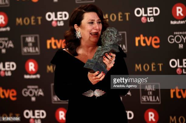 Actress Adelfa Calvo poses with her award with the movie 'El Autor' during the 32th edition of the Goya Awards ceremony in Madrid Spain on February...