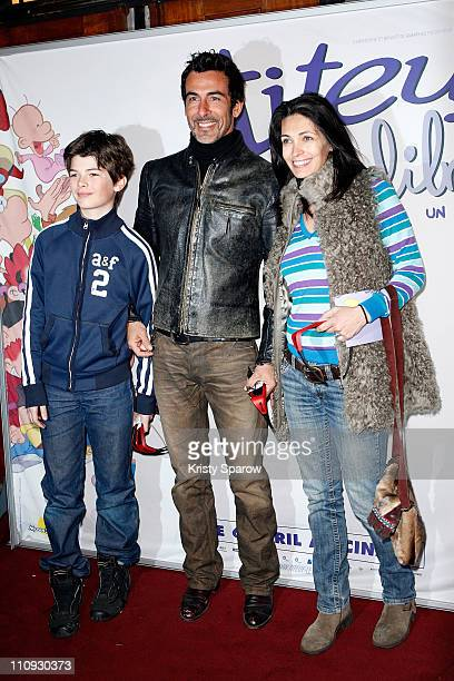 Actress Adeline Blondieau with her husband Sergio Tampororelli and son Aitor attend the Titeuf 3D premiere at Le Grand Rex on March 27 2011 in Paris...
