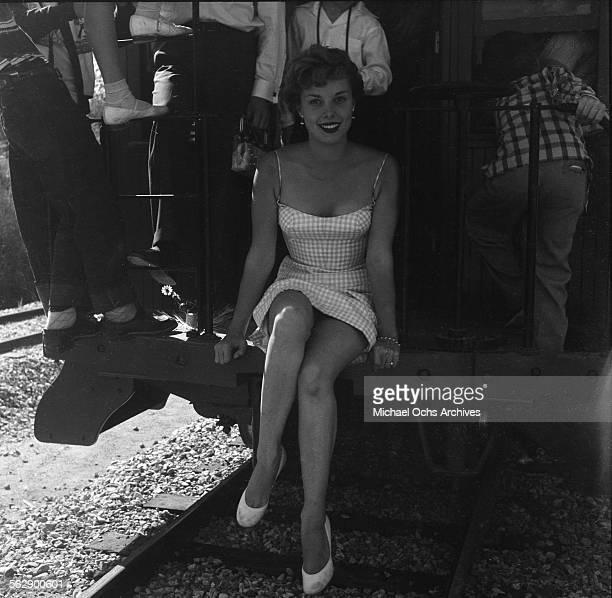 Actress Adelle August poses during the Opening day of Disneyland in AnaheimCalifornia