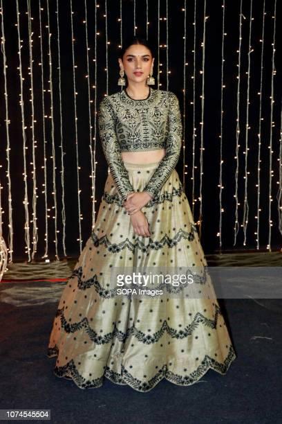 Actress Aditi Rao Hydari seen at PriyankaNicks wedding reception at hotel Taj Lands End in Mumbai The newlymarried couple Priyanka Chopra and Nick...