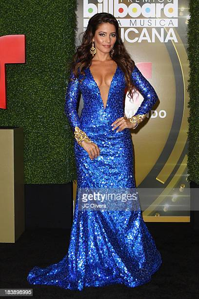 Actress Adriana Fonseca poses for a photograph at The 2013 Billboard Mexican Music Awards Press Room at Dolby Theatre on October 9 2013 in Hollywood...