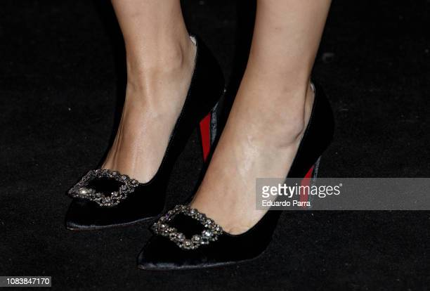 Actress Adriana Torrebejano shoes detail attends the 'MiM Series' awards photocall at Gran Maestre theatre on December 17 2018 in Madrid Spain