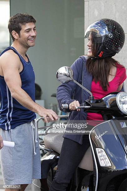 Actress Adriana Ugarte and actor Felix Gomez are seen during the filming of 'Tiempo Sin Aire' on February 26 2014 in Tenerife Spain