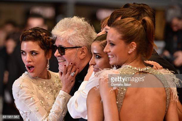 Actress Adriana Ugarte Director Pedro Almodovar actresses Inma Cuesta and Michelle Jenner leave the 'Julieta' premiere during the 69th annual Cannes...