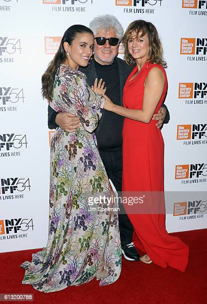 Actress Adriana Ugarte director Pedro Almodovar and actress Emma Suarez attend the 54th New York Film Festival 'Julieta' premiere at Alice Tully Hall...