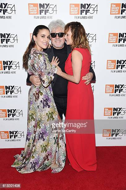 Actress Adriana Ugarte Director Pedro Almodovar and actress Emma Suarez attend the 'Julieta' photo call during the 54th New York Film Festival at...