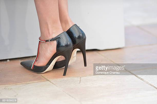 Actress Adriana Ugarte shoe detail attends the 'Julietta' Photocall during the 69th annual Cannes Film Festival at the Palais des Festivals on May 17...