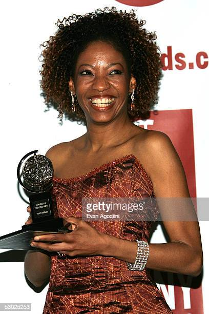 Actress Adriane Lenox poses with the award for Best Featured Actress for the play Doubt in the press room at the 59th Annual Tony Awards at Radio...