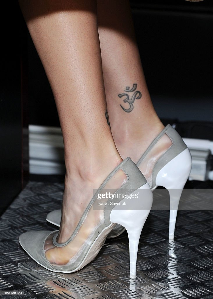 Actress Adrianne Palicki (tattoo detail) visits the SiriusXM Studios on March 5, 2013 in New York City.