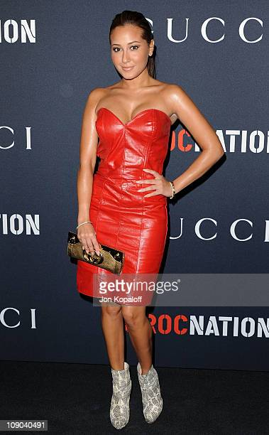 Actress Adrienne Bailon arrives at the Gucci And RocNation Host Pre-Grammy Brunch At Soho House at Soho House on February 12, 2011 in West Hollywood,...