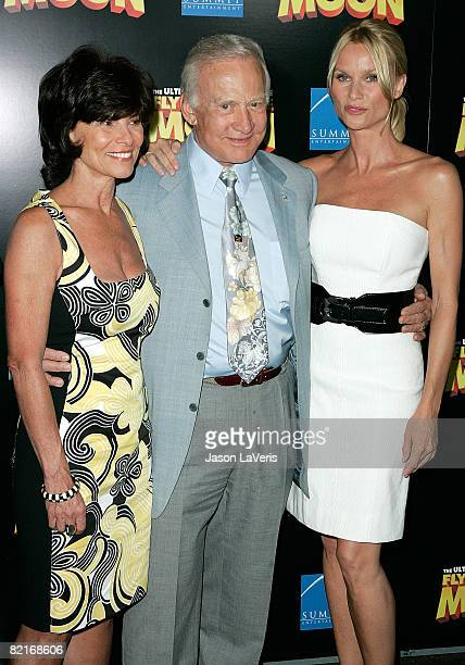 Actress Adrienne Barbeau astronaut Buzz Aldrin and actress Nicollette Sheridan attend the Los Angeles premiere of Fly Me to the Moon at the DGA...