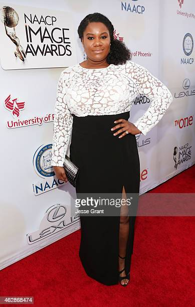 Actress Adrienne C Moore attends the 46th NAACP Image Awards presented by TV One at Pasadena Civic Auditorium on February 6 2015 in Pasadena...