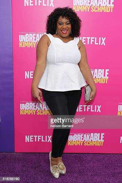 Actress Adrienne C Moore attends the Unbreakable Kimmy Schmidt Season 2 world premiere at SVA Theatre on March 30 2016 in New York City
