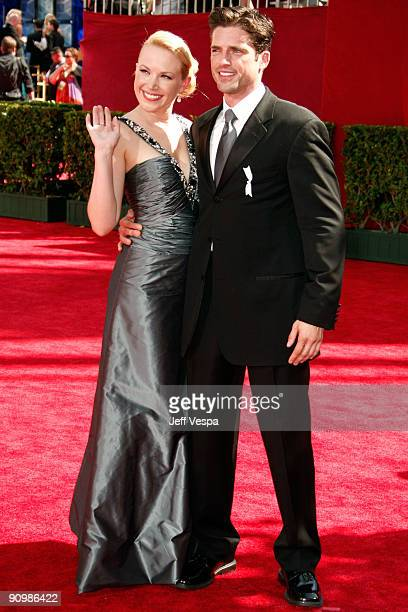 Actress Adrienne Frantz and actor Scott Bailey arrives at the 61st Primetime Emmy Awards held at the Nokia Theatre on September 20 2009 in Los...
