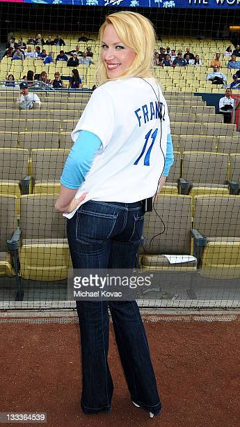 Actress Adrienne Frantz is seen at Dodger Stadium on June 1 2009 in Los Angeles California