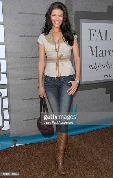 Actress Adrienne Janic arrives at the Mercedes Benz Fashion Week Fall 2008 held at Smashbox Studios on March 9 2008 in Culver City California