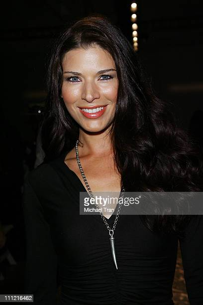 Actress Adrienne Janic backstage and frontrow at Joseph Domingo Spring 2008 collection during Los Angeles Mercedes Benz Fashion Week at Smashbox...