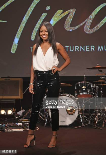 Actress Adrienne Warren playing Tina Turner poses at a photocall for Tina The Tina Turner Musical at The Hospital Club on October 17 2017 in London...