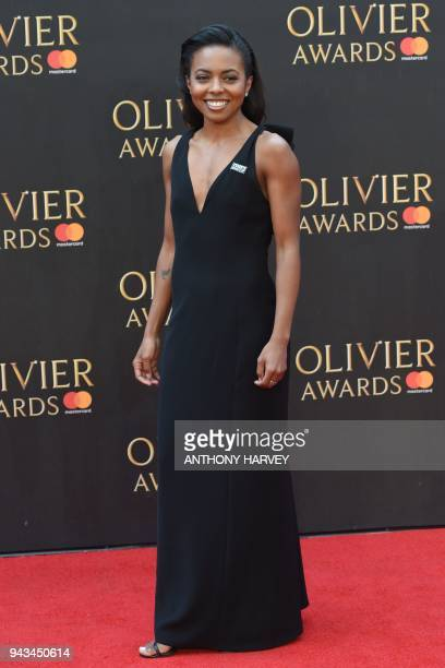US actress Adrienne Warren poses on the red carpet upon arrival to attend The Olivier Awards at the Royal Albert Hall in central London on April 8...