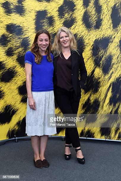 Actress Aenne Schwarz and Barbara Sukowa attend 'Vor Der MorgenroteStefan Zweig in Amerika' photocall during the 69th Locarno Film Festival on August...