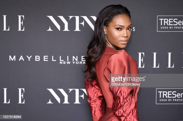 Actress Afiya Bennett attends the NYFW KickOff Party hosted by E Entertainment ELLE IMG at The Pool The Seagram Building on September 5 2018 in New...