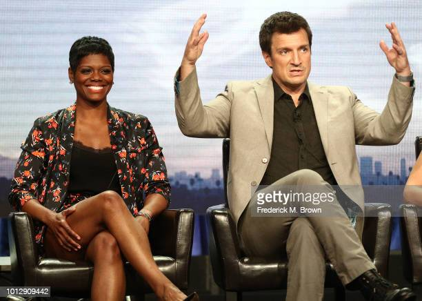 Actress Afton Williamson and actor Nathan Fillion of the television show 'The Rookie' speak during the Disney/ABC segment of the Summer 2018...