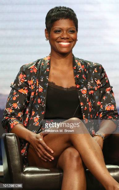 Actress Afton Williamson of the television show 'The Rookie' speaks during the Disney/ABC segment of the Summer 2018 Television Critics Association...