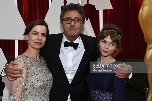 Actress Agata Kulesza, Writer Director Pawel Pawlikowski and actress Agata Trzebuchowska attend the 87th Annual Academy Awards at Hollywood &...
