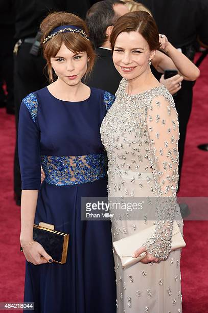 Actress Agata Trzebuchowska and actress Agata Kulesza attend the 87th Annual Academy Awards at Hollywood & Highland Center on February 22, 2015 in...
