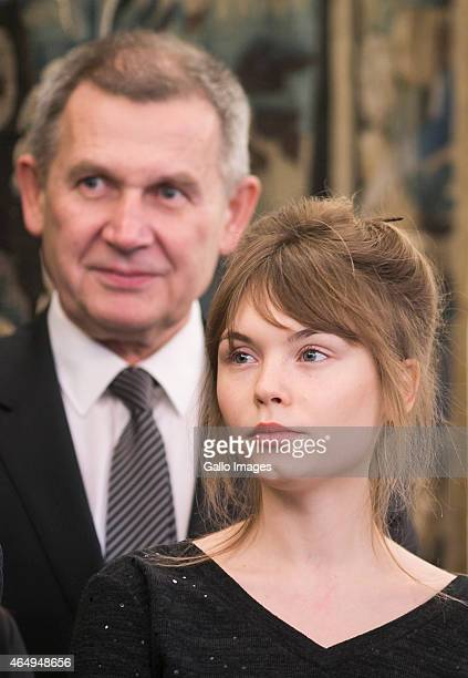 Actress Agata Trzebuchowska during a meeting with President Bronislaw Komorowski on March 2 2015 at Belvedere Palace in Warsaw Poland Ida is the 2015...