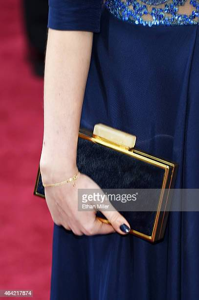 Actress Agata Trzebuchowska, fashion detail, attends the 87th Annual Academy Awards at Hollywood & Highland Center on February 22, 2015 in Hollywood,...